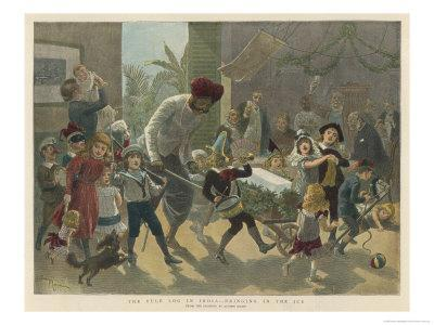 British Residents in India Bring in a Bar of Ice Instead of the Traditional Yule Log-Adrien Marie-Giclee Print