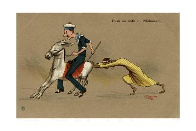 British Sailor on a Mule, Pushed by Egyptian Man-V. Manavian-Giclee Print