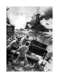 British Sailors Throwing Overboard Luxuries, North Sea, First World War, 1914