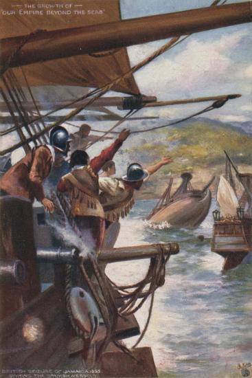 British Seizure of Jamaica from the Spanish, 1655--Giclee Print