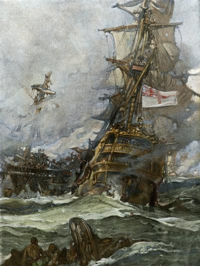 British Ship Brunswick in Battle with French Navy Off the Coast of Brittany--Giclee Print