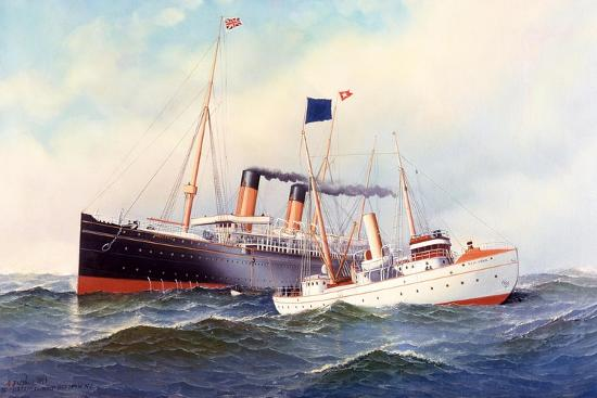 British Ship Majestic with Pilot Boat New York, 1898-Antonio Jacobsen-Giclee Print