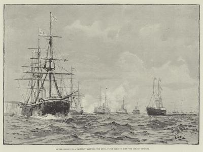 British Ships (The a Squadron) Saluting the Royal Yacht Osborne, with the German Emperor--Giclee Print
