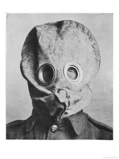 "British Soldier in ""Anti-Gas Helmet"", Gas Mask--Giclee Print"