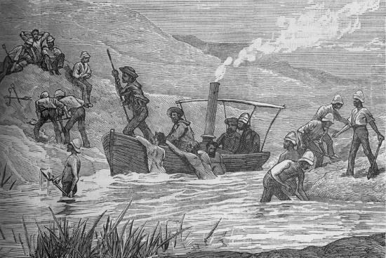 'British Soldiers Cutting a Dam Constructed by Arabi at Mahuta', c1882-Unknown-Giclee Print