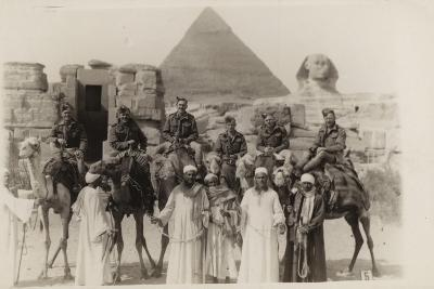 British Soldiers on Camels at the Pyramids of Giza, Egypt, World War II--Photographic Print