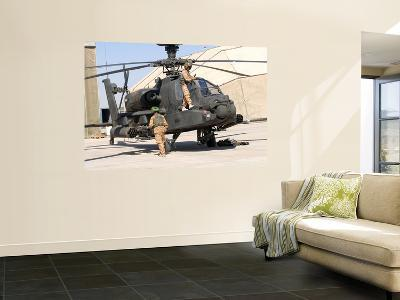 British Soldiers Perform Maintenance on an Apache Helicopter-Stocktrek Images-Wall Mural