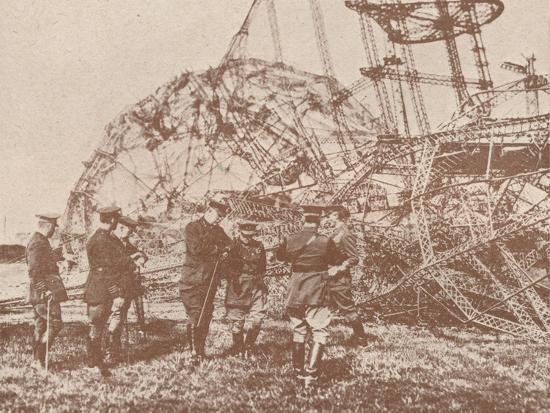 British staff officers examining the wreckage of a Zeppelin brought down in England, c1917-Unknown-Photographic Print