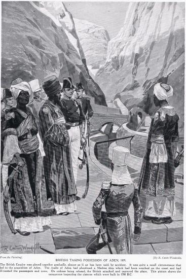 British Taking Possession of Aden, Illustration from 'Hutchinson's Story of the British Nation'-Richard Caton Woodville-Giclee Print