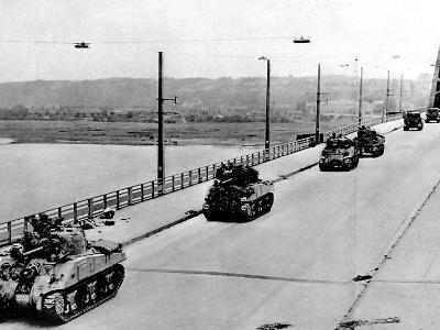 British Tanks on Nijmegen Bridge; Second World War, 1944--Photographic Print