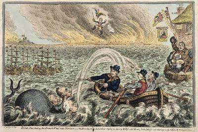 British Tars Towing the Danish Fleet into Harbour, or the Broadbottom Leviathan Trying to Swamp…-James Gillray-Giclee Print