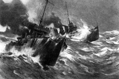 British Torpedo Craft in North Sea Storms, First World War, 1914--Giclee Print