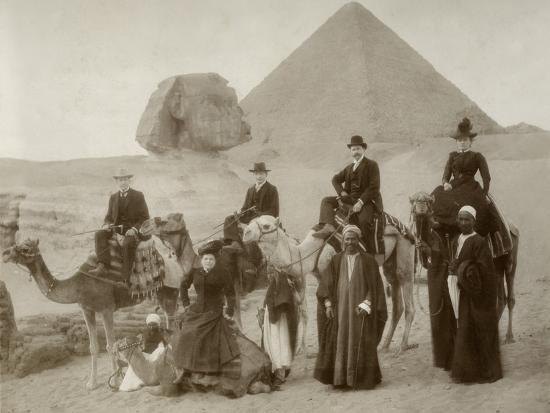 British Tourist Visiting the Pyramids of Giza--Photographic Print