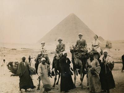 British Tourists Seated on Camels in Front of the Great Pyramid, Giza, Egypt, 1936--Photographic Print