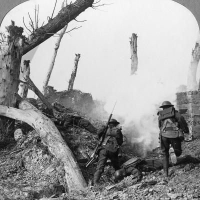 British Troops Attacking Germans Isolated in a Captured Village, World War I, C1914-C1918--Photographic Print