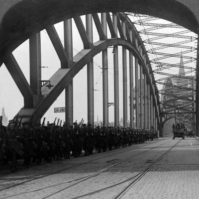 British Troops Crossing the Bridge over the Rhine, Cologne, Germany, 1918-1926--Photographic Print