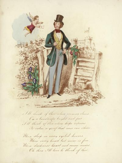 British Valentine Card with an Image of a Cherub Delivering a Valentine's Card to a Man--Giclee Print