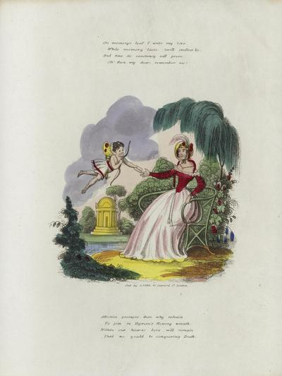 British Valentine Card with an Image of a Cherub Delivering a Valentine's Card to a Woman--Giclee Print