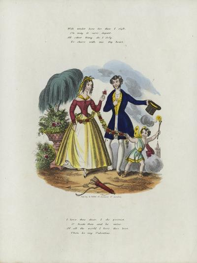 British Valentine Card with an Image of a Cherub Pulling a Woman Along with a String of Flowers--Giclee Print