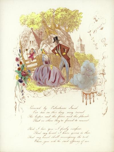 British Valentine Card with an Image of a Man and a Woman in a Garden with a Cherub--Giclee Print