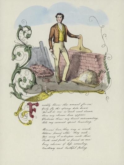 British Valentine Card with an Image of a Man Building a Brick Wall--Giclee Print