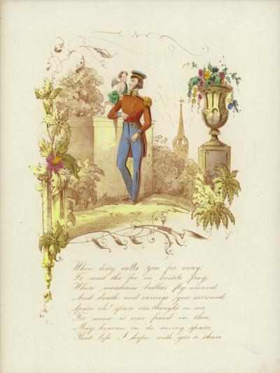 British Valentine Card with an Image of a Soldier with a Cherub on His Shoulder--Giclee Print