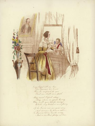 British Valentine Card with an Image of a Woman at a Window with a Cherub--Giclee Print