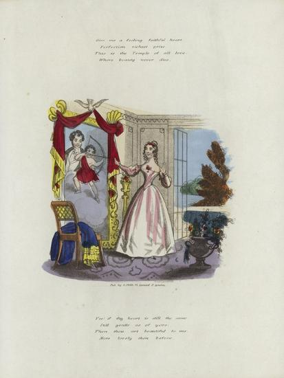 British Valentine Card with an Image of a Woman Looking in a Mirror--Giclee Print