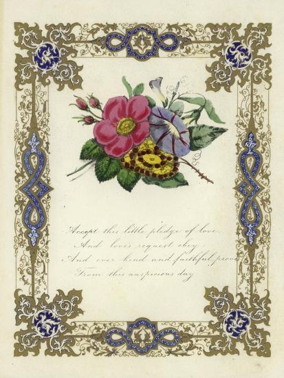 British Valentine Card with an Image of Flowers--Giclee Print