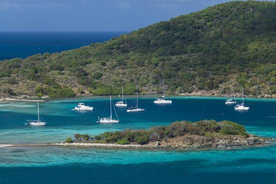 British Virgin Islands, Jost Van Dyke. Long Bay from Roach Hill-Walter Bibikow-Photographic Print
