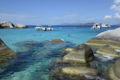 British Virgin Islands, Virgin Gorda. Boats and Tourists at the Baths-Kevin Oke-Photographic Print