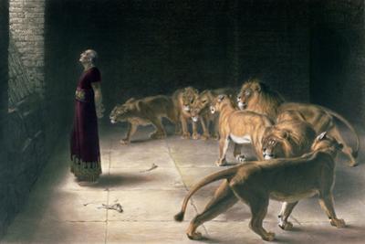 Daniel in the Lions Den, Mezzotint by J. B. Pratt, with Hand Colouring by Briton Rivière