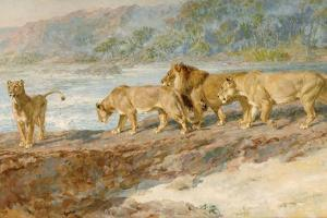 On the Bank of an African River, 1918 by Briton Riviere