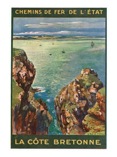 Brittany, France - Panoramic View of the Sea from Rocky Coast, State Railways Postcard, c.1920-Lantern Press-Art Print