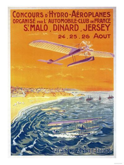 Brittany, France - View of Float Planes in Air and Water Poster-Lantern Press-Art Print