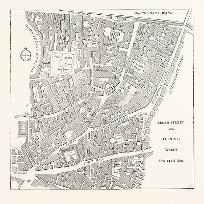Broad Street and Cornhill Wards from a Map of 1750, London--Giclee Print