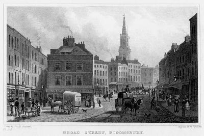 Broad Street, Bloomsbury, London, 19th Century-William Woolnoth-Giclee Print