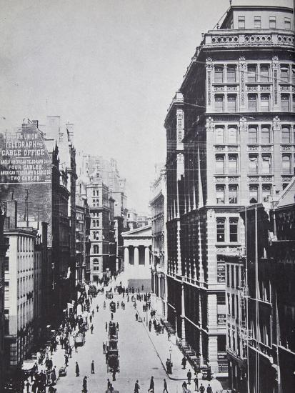Broad Street, Looking Towards Wall Street, New York, 1893 (B/W Photo)-American Photographer-Giclee Print