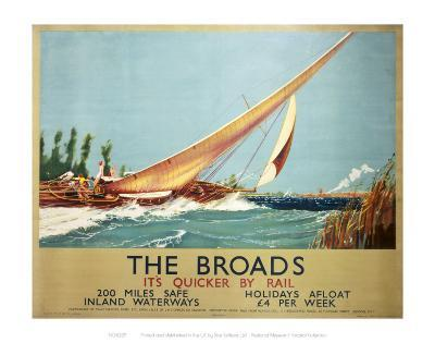 Broads Boat Blowing to Side--Art Print