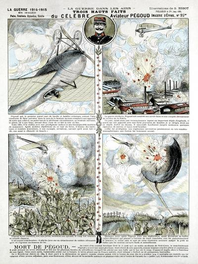 Broadsheet Showing Exploits of French Air Ace Adolphe Pegoud--Giclee Print