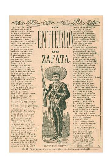 Broadside with Burial of Emiliano Zapata--Giclee Print