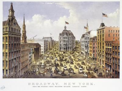 Broadway New York-Currier & Ives-Giclee Print