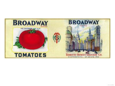 Broadway Tomato Label - St. Louis, MO-Lantern Press-Art Print