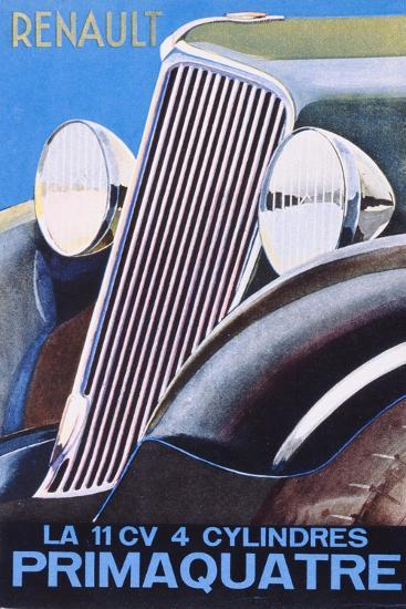 Brochure Advertising the Renault Primaquatre Automobile, c.1930-French School-Giclee Print