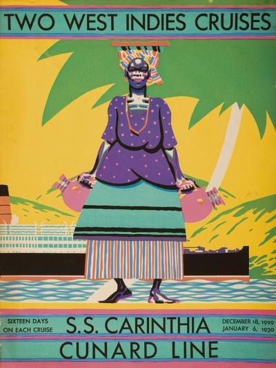 Brochure Cover for 'Two West Indies Cruises' on Board the S.S. 'Carinthia', 1929--Giclee Print