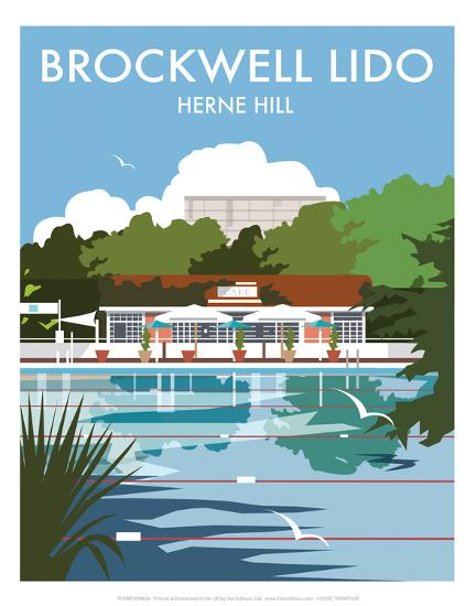 Brockwell Lido - Dave Thompson Contemporary Travel Print-Dave Thompson-Art Print