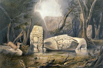Broken Idol at Copan, from 'Views of Ancient Monuments in Central America, Chiapas and Yucatan',…-Frederick Catherwood-Giclee Print