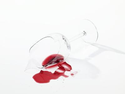 Broken Wine Glass with Spilt Red Wine--Photographic Print
