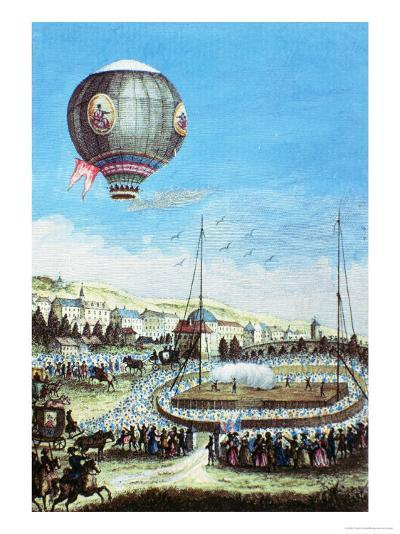 Brolteaux in Lyon and the Third Flight of the Montgolfier Hot-Air Balloon, 10th of January 1784--Giclee Print