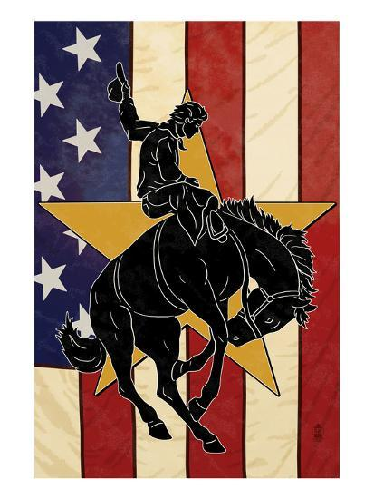 Bronco Bucking and Flag-Lantern Press-Art Print